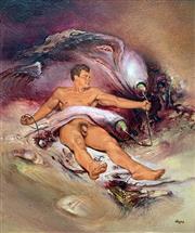 Sale 8715A - Lot 5001 - James Gleeson (1915 - 2008) - Figure in Electrified Psychoscape 15 x 12.5cm