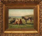 Sale 8813 - Lot 562 - Artist Unknown (C20th) - Pastrol Scene and Resting Cows, Balua 1910 24.5 x 32.5cm