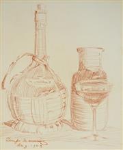 Sale 9004 - Lot 2024A - Tempe Manning (1893 - 1960) - Still Life with Wine Bottle & Jug 32 x 26 cm (mount: 50 x 42 cm)
