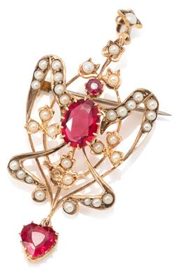 Sale 9145 - Lot 371 - AN ART NOUVEAU 9CT GOLD PENDANT BROOCH; scrolling frame and bale set with garnet topped doublets and faux pearls (1missing) suspendi...