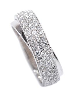 Sale 9199J - Lot 60 - AN 18CT WHITE GOLD DIAMOND RING; cross over band pave set with 74 round brilliant cut diamonds totalling 0.74ct VS-P1, width 6.79mm,...
