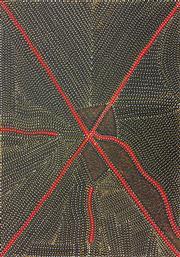 Sale 8288A - Lot 46 - Kathleen Petyarre (1930 - ) - Mountain Devil Lizard Dreaming 100 x 70cm (framed & ready to hang)