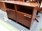 Sale 8607 - Lot 1052 - Pair of Avalon Teak Bedside Lockers