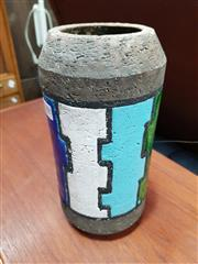 Sale 8741 - Lot 1088 - Italian Ceramic Cylinder Vase with Blue, Green and White Glaze