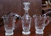 Sale 8746 - Lot 1090 - Waterford Lismore Pattern pair of waterjugs together with matching decanter, Height of decanter 32cm