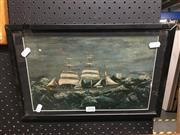 Sale 8776 - Lot 2076 - Artist Unknown - Ship Before the Wind, Oil, 20x31cm -