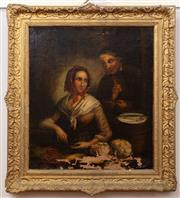 Sale 9015J - Lot 35 - 19th Century, couple at a table, oil on canvas, not signed, in a gilt gesso frame (paint losses), 61cm x 53cm