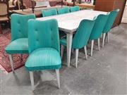 Sale 8930 - Lot 1021 - Vintage Dining Setting incl. Laminate Table and Ten Turquoise Chairs