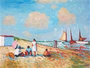 Sale 9009A - Lot 5055 - After A. Claudie - Beach Picnic 29.5 x 39 cm (frame: 43 x 53 x 4 cm)