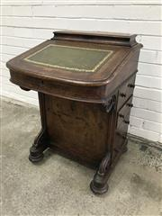 Sale 9068 - Lot 1012 - Bur Walnut Victorian Davenport, with stationery compartment, green leather writing slope on scrolled brackets, fitted interior & four d