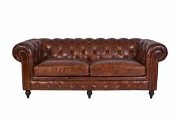 Sale 9250T - Lot 16 - A traditional style 3 seater Chesterfield in premium aged natural and hand worked leather, completed with a gold stud trim, buttons...