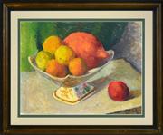 Sale 8374 - Lot 534 - Roland Wakelin (1887 - 1971) - Still Life, Fruit, 1960 29.5 x 39.5cm