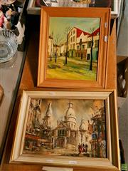 Sale 8582 - Lot 2096 - 2 Works: Town Square & Church, Oil SLL; Plus Maurice Utrillo Oleograph Old Paris