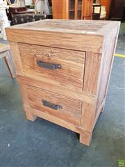 Sale 8601 - Lot 1303 - Rustic Recycled Elm Bedside with Two Drawers & Iron Handles
