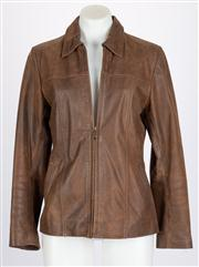 Sale 8640F - Lot 61 - A brown leather jacket, size large.