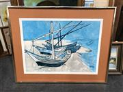 Sale 8819 - Lot 2116 - Framed Picture Of A Boat (Glass Missing) -