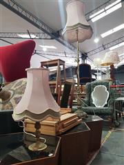 Sale 8863 - Lot 1055 - Brass Floor Lamp and Brass Table Lamp (2)