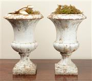 Sale 8871H - Lot 72 - Two white painted rustic campagna urns (larger) Height 36cm, Width 36, smaller height 29cm