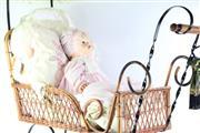 Sale 8757 - Lot 67 - Bisque Head Doll In Wicker Pram