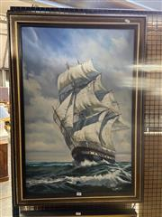Sale 8914 - Lot 2061 - Artist Unknown - Tall Ship, oil on canvas on board, 102 x 72 cm signed lower right