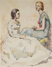 Sale 9028 - Lot 2015 - Tempe Manning (1893 - 1960) - 1920s Society Ladies 33.5 x 26 cm (mount: 52 x 42 cm)