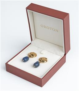 Sale 9091F - Lot 50 - A PAIR OF OROTON ELSA GOLD AND BLUE STONE DROP EARRINGS, in box
