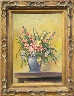 Sale 9103 - Lot 2001 - Ivy Shore Floral Still Life in Classical Vase oil on canvas 53 x 43cm, signed