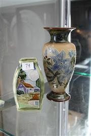 Sale 8322 - Lot 74 - Doulton Lambeth Floral Vase with  Another Royal Doulton Tube Lined Vase