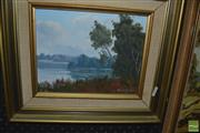 Sale 8425T - Lot 2042 - Henry Dunne - Basin View, St Georges Basin, NSW, 1975, oil on canvas board, 19 x 24cm, signed and dated lower right, inscribed verso