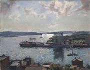 Sale 8692 - Lot 503 - Alan Grieve (1910 - 1970) - Overlooking the Sydney Harbour 49.5 x 65cm