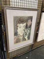 Sale 8914 - Lot 2018 - Donald McConchie - Woman and Rose 1977 ink and watercolour (AF), 56 x 45.5cm,signed