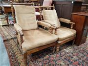 Sale 8939 - Lot 1072 - Pair of Late Victorian/ Edwardian Oak Armchairs, of graduated size, fully constructed from bobbin turned posts, upholstered in velve...
