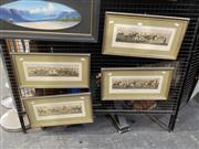 Sale 9050 - Lot 2006 - J Pollard, set of 4 equestrian scenes, hand-coloured engravings, frame: 26 x 49 cm (each)