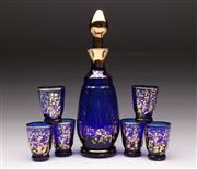 Sale 9078 - Lot 61 - A Blue Glass Venetian Drinks Suite inc Decanter and 6 Small Glasses (H 6.5cm)