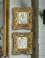 Sale 9087H - Lot 69 - Artist unknown, pair of 18thC French ink and wash drawings framed in 18th C hand carved giltwood frames. Image sizes: 19 x 15 cm and...