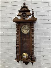 Sale 9085 - Lot 1078 - Late 19th Century German Wall clock, in the Vienna style, with two train movement (unmarked) & turned half columns (one finial nee...