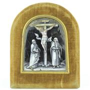 Sale 8379 - Lot 83 - Limoges Enamel Grisaille Painted Crucifixion Scene