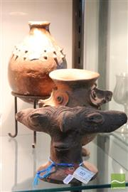 Sale 8365 - Lot 60 - Figural Clay Cooking Stand - PNG with Other Tribal Clay Vessels