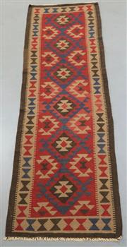 Sale 8445K - Lot 79 - Maimana Afghan Kilim Runner , 283x82cm, Handwoven in Northern Afghanistan using durable local wool. Traditional and reversible slit...
