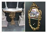 Sale 8620 - Lot 1002 - Marble Top Consol with Mirror (Consol H: 83 W: 82 D: 29cm Mirror 97 x 57cm)