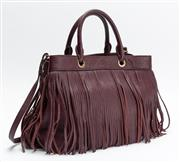 Sale 8661F - Lot 82 - A MILLY Essex bordeaux leather fringe tote bag, brand new with dust bag, RRP $635, H 25 x W 33 x D 16.5cm