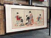 Sale 8816 - Lot 2017 - Japanese Colour Woodblock Prints (3 works) Preparations (AF), frame 98 x 53cm.
