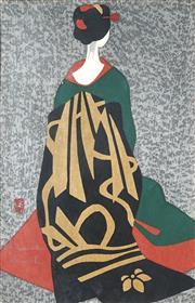 Sale 8870A - Lot 586 - Kiyoshi Saito (1907 - 1997) - Black and Gold Kimono 38.5 x 24.5 cm