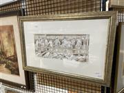 Sale 8906 - Lot 2019 - Lesley Wynne - Pay Attention Gentlemenpen and wash, 45 x 68.5cm (frame), signed