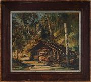 Sale 9001 - Lot 542 - Robert Johnson (1890 - 1964) - Cabin In The Woods 23.5 x 27.5 cm (frame: 34 x 38 x 2 cm)