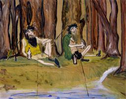 Sale 9143A - Lot 5042 - AARTIST UNKNOWN - Two Old Fisherman 35 x 45 cm