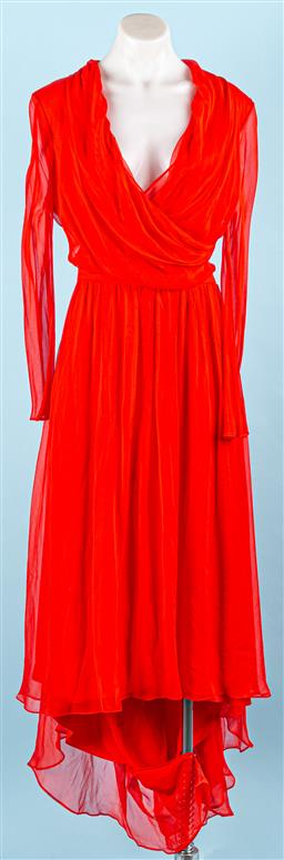 Sale 9091F - Lot 1 - A CAMILLA AND MARC RED MAXI EVENING DRESS WITH TRAIN; having plunging neck line and chiffon overlay, side zip.