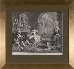 Sale 9101 - Lot 2060 - William Hogarth (1697 - 1764) - The Tété-A-Tété, Marriage á-la-mode, 1796 34.5 x 43.5 cm (frame: 60 x 65 x 3 cm)