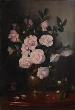 Sale 9116 - Lot 510 - Dudley Drew (1924 - 2015) - Pink Gardenias 80.5 x 55 cm (frame: 92 x 66 x 6 cm)