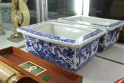Sale 8292 - Lot 30 - Chien Lung Style Blue & White Flower Pot